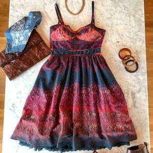 Glowing Embers Ikat Print Cotton Petticoat Dress